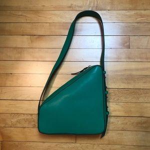 Topshop Green Triangle Zip Shoulder Bag - NWOT